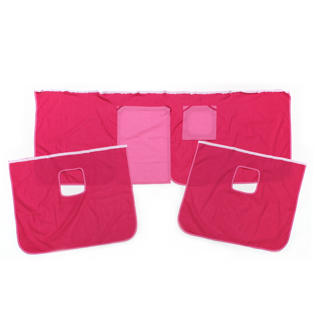 vorhang set pink rosa f r hochbett spielbett abenteuerbett rutschenbett. Black Bedroom Furniture Sets. Home Design Ideas