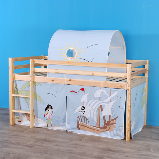 bett hochbett spielbett lattenrost vorhang tunnel pirateninsel ebay. Black Bedroom Furniture Sets. Home Design Ideas