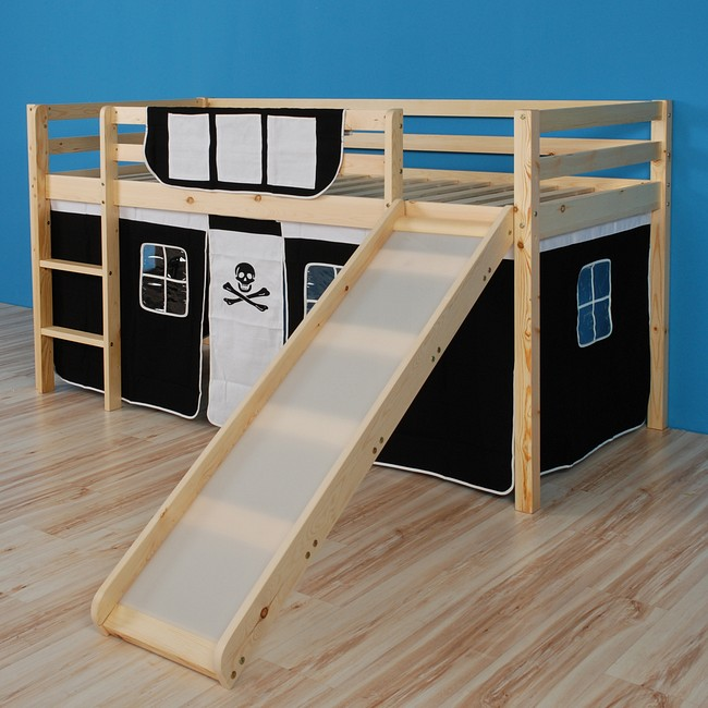 hochbett mit rutsche spielbett kinderbett bett mit lattenrost vorhang jack ebay. Black Bedroom Furniture Sets. Home Design Ideas
