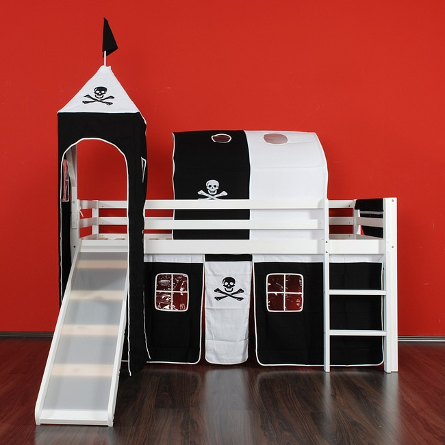 hochbett mit rutsche spielbett kinderbett bett lattenrost und stoffset jack ebay. Black Bedroom Furniture Sets. Home Design Ideas