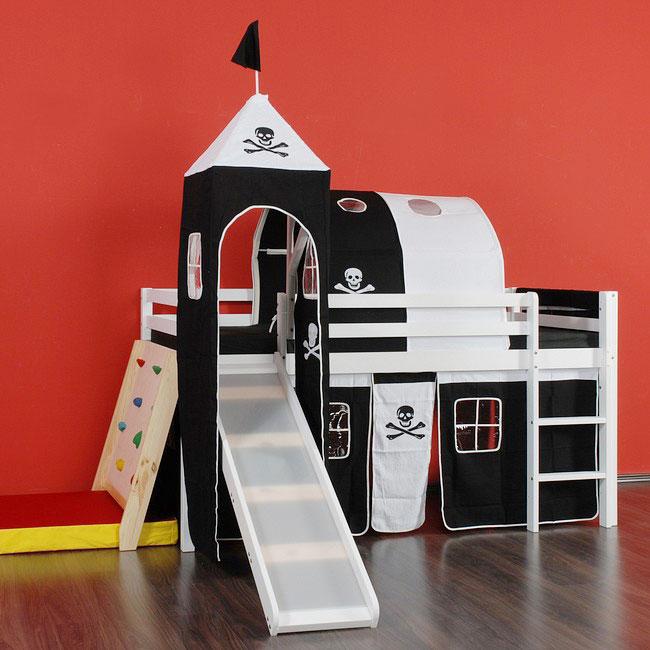 hochbett mit rutsche spiel bett lattenrost matratze stoffset jack enterhilfe ebay. Black Bedroom Furniture Sets. Home Design Ideas